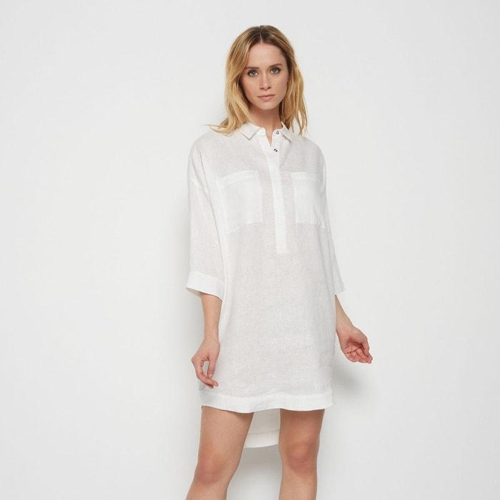 abb6cc49f9e41 Robe tunique manches 3 4 en lin blanc Monoprix   La Redoute