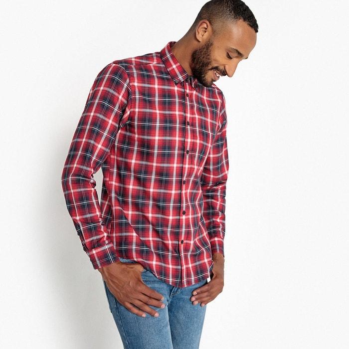 chemise droite carreaux manches longues rouge carreaux la redoute collections la redoute. Black Bedroom Furniture Sets. Home Design Ideas