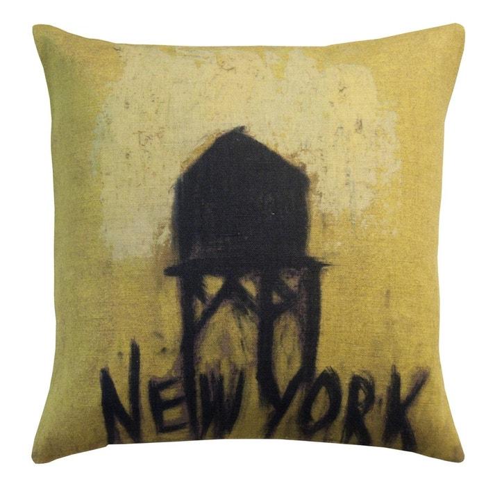 Housse de coussin en lin imprim new york jaune maison for Art et maison new york