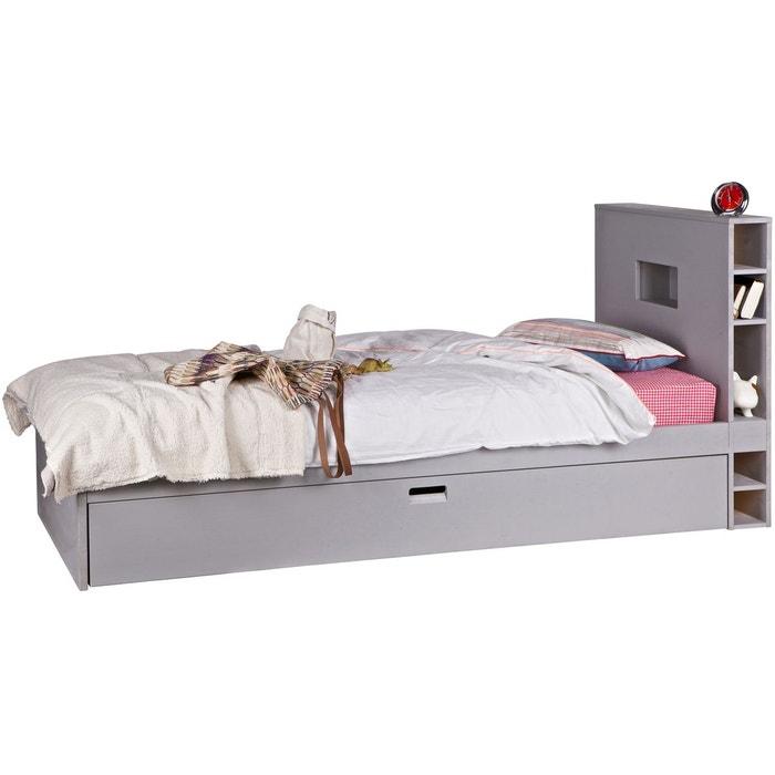 lit enfant rangements et tiroir gigogne 90x200 190 gris clair alfred et compagnie la redoute. Black Bedroom Furniture Sets. Home Design Ideas