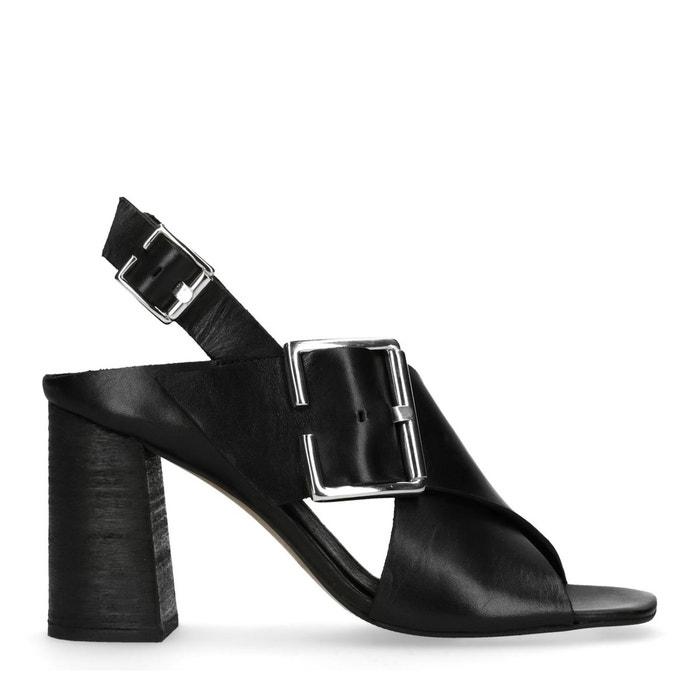 Sandales à talon en cuir avec boucle  noir Sacha  La Redoute