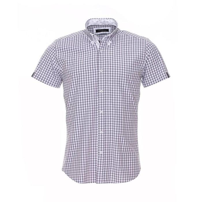 Chemise cintrée à manches courtes vichy clair et à opposition à motifs coton gris Meadrine
