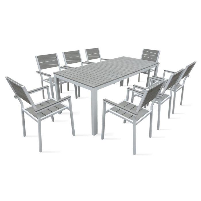 table de jardin 8 places aluminium et polywood blanc oviala la redoute. Black Bedroom Furniture Sets. Home Design Ideas