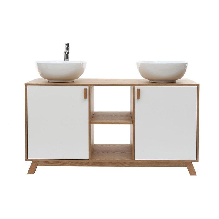 Meuble de salle de bain : 2 vasques 2 portes chêne clair et blanc et ...