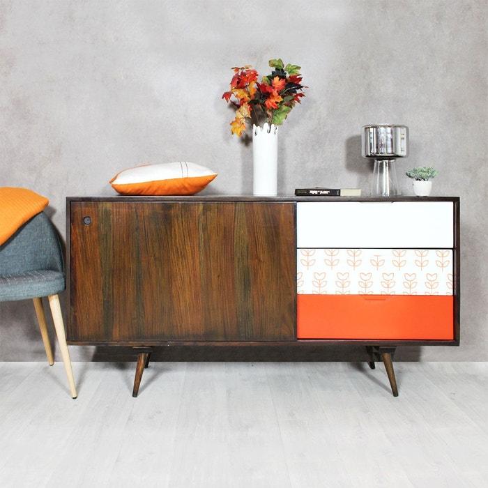 buffet bois massif d tails vintages 1 porte 3 tiroirs. Black Bedroom Furniture Sets. Home Design Ideas