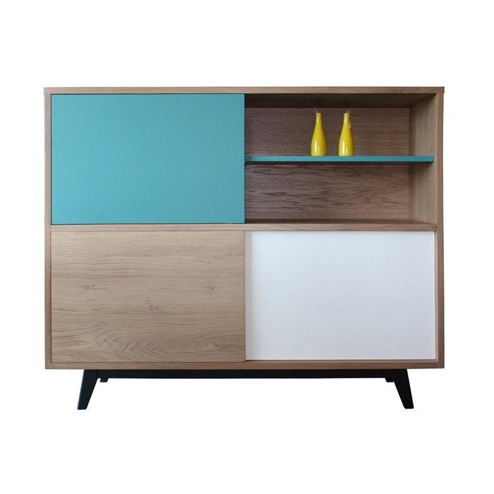 buffet vintage ch ne massif blanchi et laqu bleu blanc noir multicolore pirotais la redoute. Black Bedroom Furniture Sets. Home Design Ideas