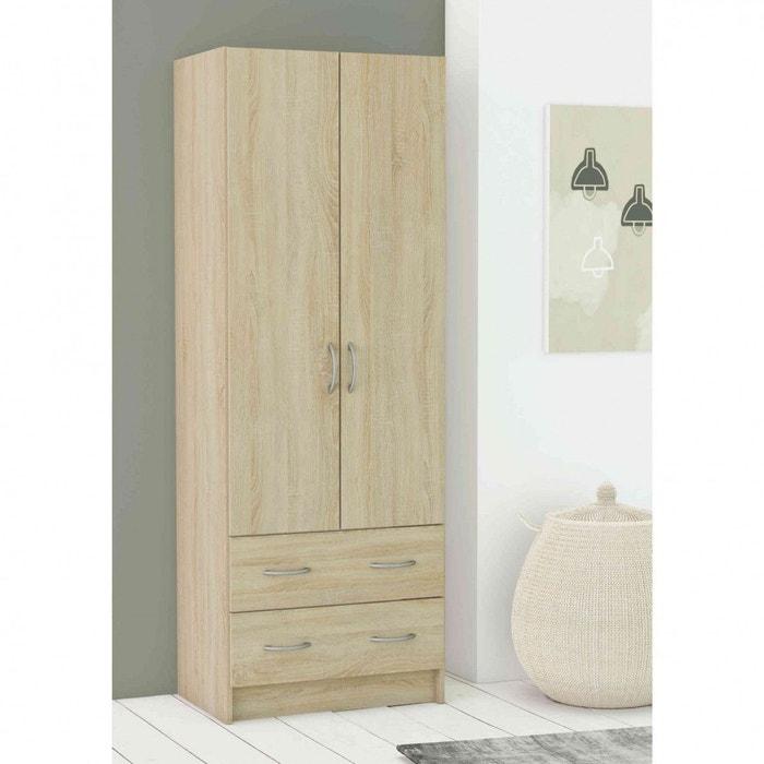ling re 2 portes ch ne bross lin tiss naturel terre de. Black Bedroom Furniture Sets. Home Design Ideas