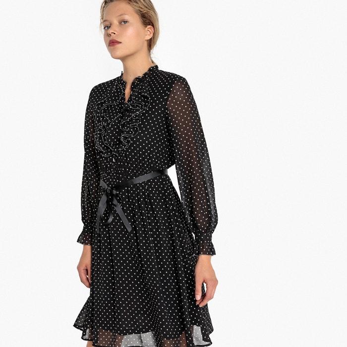 Платье расклешенное с принтом в горошек с ддинными рукавами