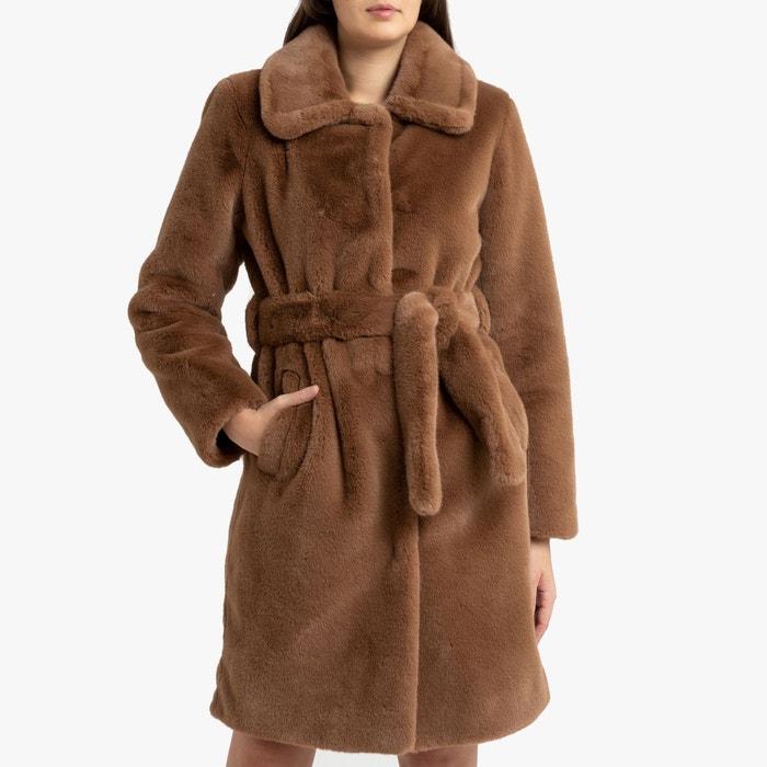 Manteau imitation fourrure avec ceinture à nouer