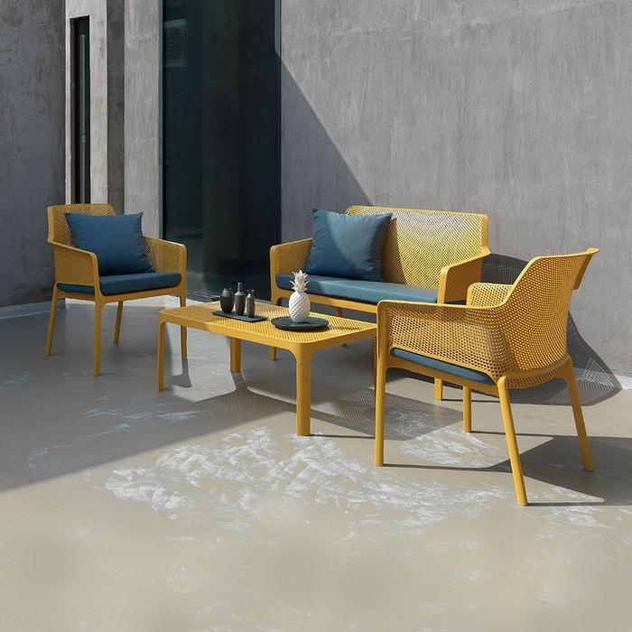 Salon de jardin polypropylène design 100x60 Net jaune par