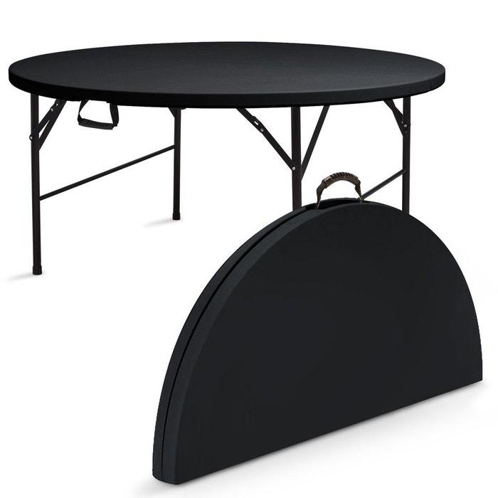 Personnes Pliante 8 Table Noire Ronde qzVUMSGp