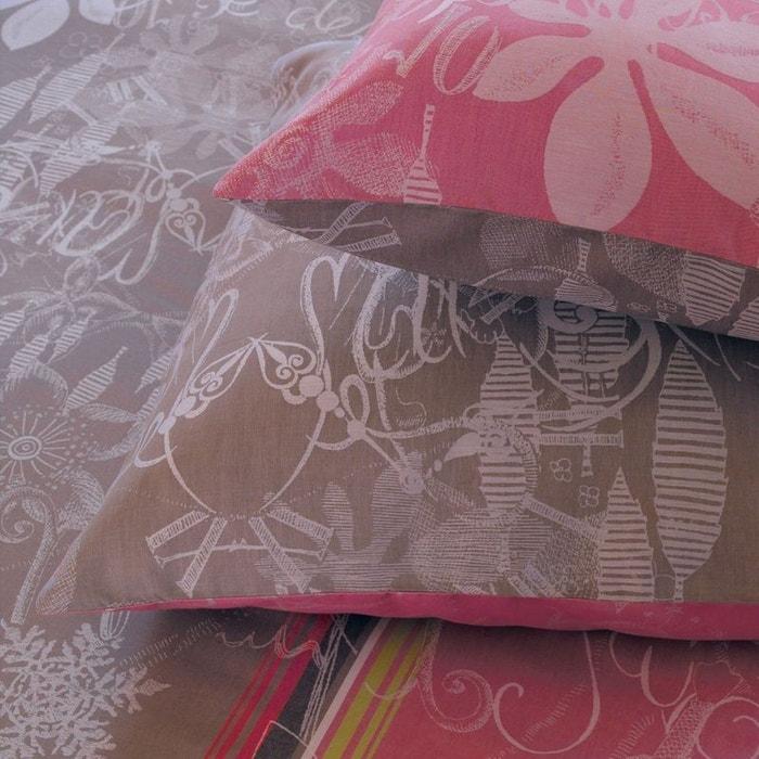 taie d 39 oreiller jardin imaginaire taupe brun rose garnier thiebaut la redoute. Black Bedroom Furniture Sets. Home Design Ideas