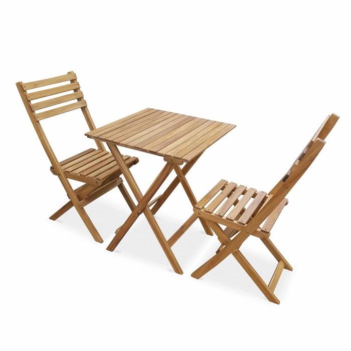 Salon de jardin en bois bistrot pliable Figueres carré, table 60x60cm avec  deux chaises pliantes