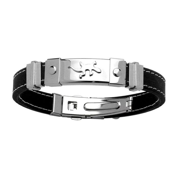 Bracelet homme longueur réglable motif salamandre lézard gecko caoutchouc acier inoxydable couleur unique So Chic Bijoux | La Redoute Fiable Prix Pas Cher kjq3p