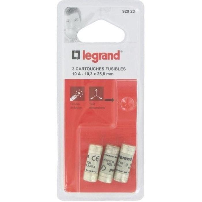 Legrand cartouche fusible pour porte fusible avec t moin 10a 2300w 10 3 x 25 8 blanc mcd la - Porte fusible legrand ...