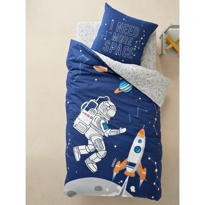 parure housse de couette taie d 39 oreiller enfant intergalactic bleu fonc imprim vertbaudet. Black Bedroom Furniture Sets. Home Design Ideas