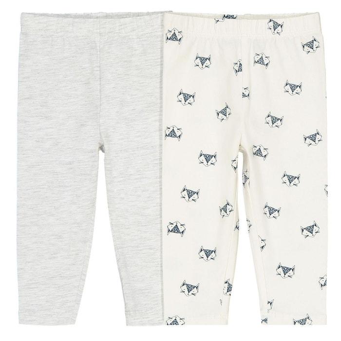 82d77c5cac1a4 Lot de 2 leggings 1 mois - 3 ans ecru + gris chiné La Redoute Collections