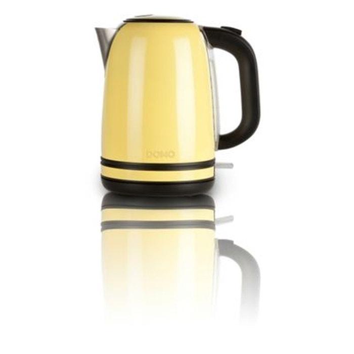 bouilloire lectrique vintage en acier inoxydable 1 7l 2200w base 360 design jaune domo. Black Bedroom Furniture Sets. Home Design Ideas