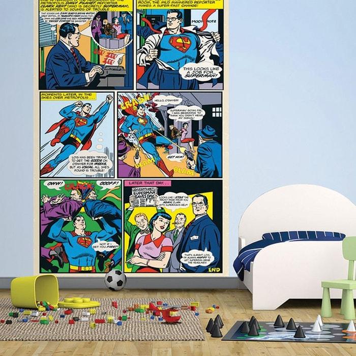 papier peint superman dessin dc comics bleu jaune rouge walltastic la redoute. Black Bedroom Furniture Sets. Home Design Ideas