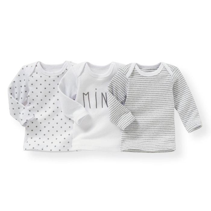 1af1f26ff49af Lot de 3 t-shirts manches longues 0 mois - 3 ans blanc + rayé gris + imprimé  gris La Redoute Collections
