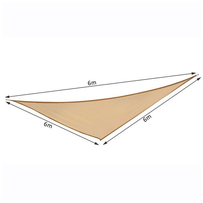 Voile d\'ombrage triangulaire 6x6x6 m sable beige Outsunny | La Redoute
