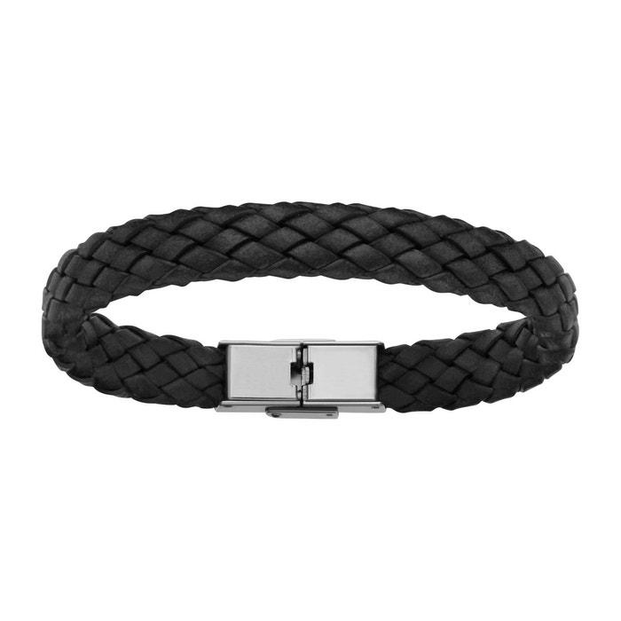 Bracelet 20,5 cm longueur réglable cuir tresse noir acier inoxydable couleur unique So Chic Bijoux | La Redoute