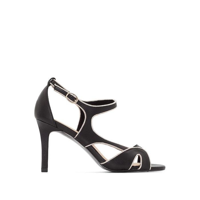 Sandales cuir  brides asymétriques   noir La Redoute Collections   La Redoute