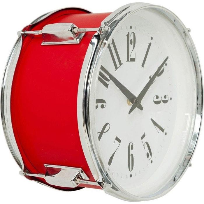 Horloge Murale Drum Rouge 28cm Kare Design Rouge Kare Design La