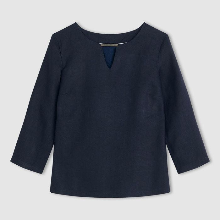 Rechte blouse met 3/4 mouwen in linnen  R essentiel image 0