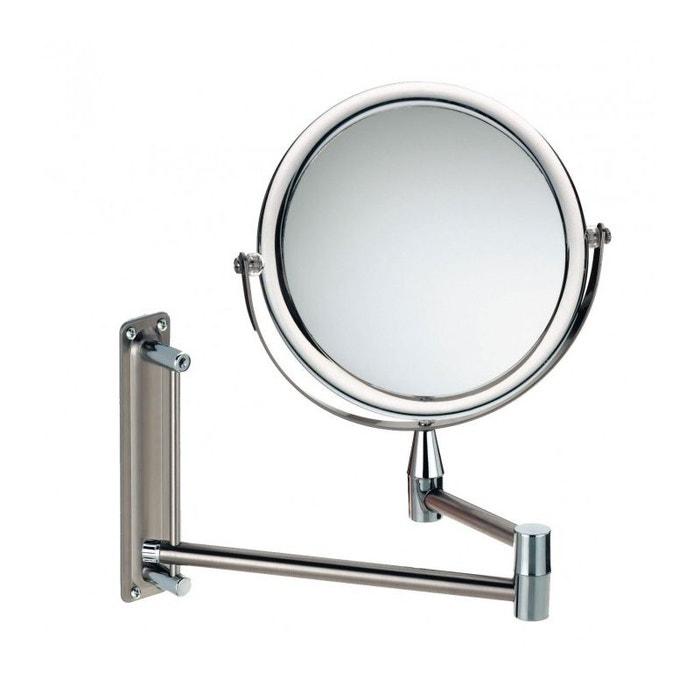 miroir grossissant mural double face rond x3 sur bras extensible grazia chrome inox wadiga. Black Bedroom Furniture Sets. Home Design Ideas