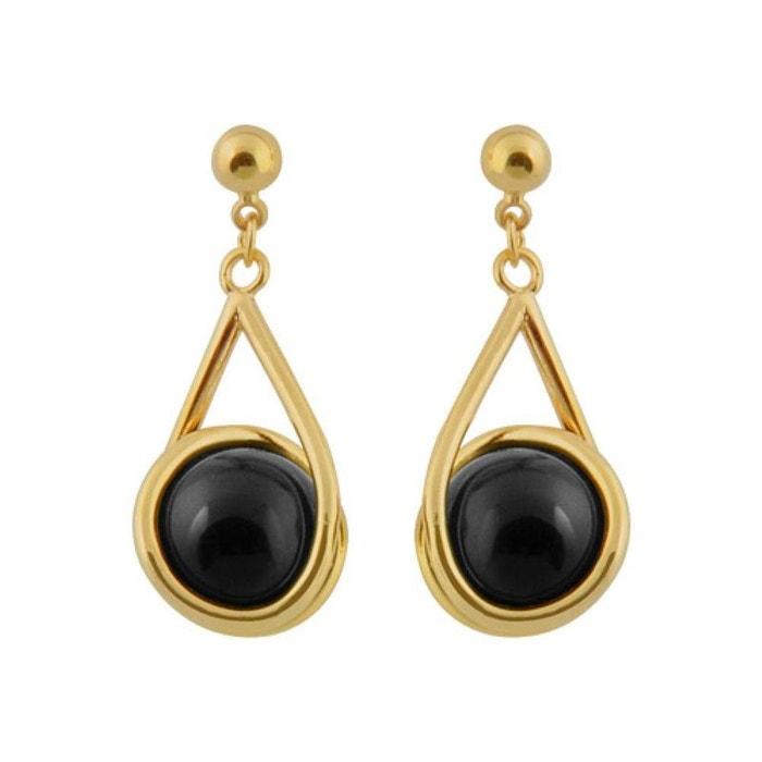 Boucles D Oreilles Pendant Boule Onyx Noir Plaque Or 750 So Chic