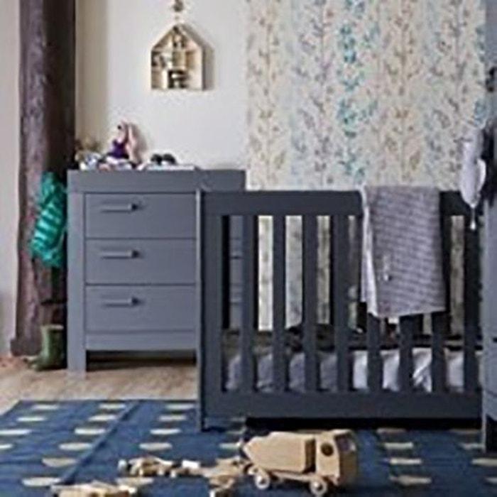 chambre b b essentielle bois massif gris acier gris acier. Black Bedroom Furniture Sets. Home Design Ideas
