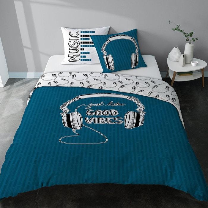 parure housse de couette casque musique good vibes bleu. Black Bedroom Furniture Sets. Home Design Ideas