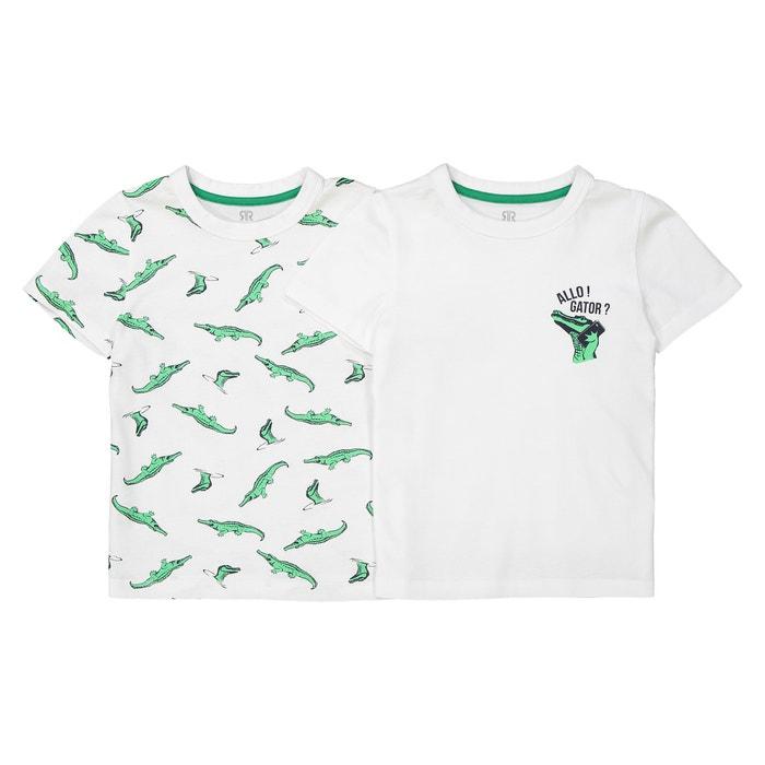 T-shirt scollo rotondo fantasia 3 - 12 anni (confezione da 2)  La Redoute Collections image 0
