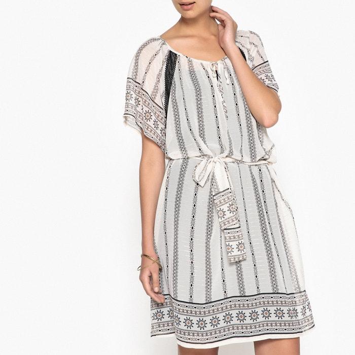 Folk Print Dress with Tie Waist  ANNE WEYBURN image 0