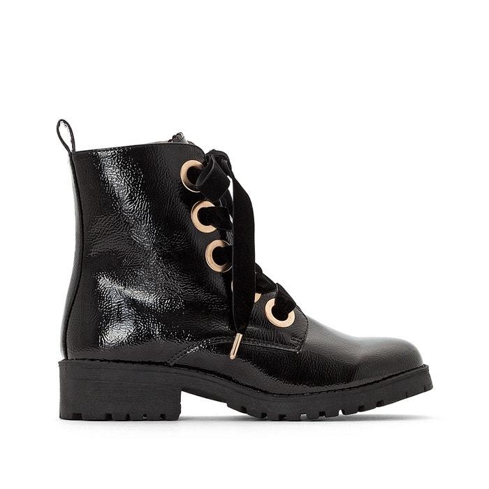 Gelakte boots met veters, goudkleurige oogjes  LA REDOUTE COLLECTIONS image 0