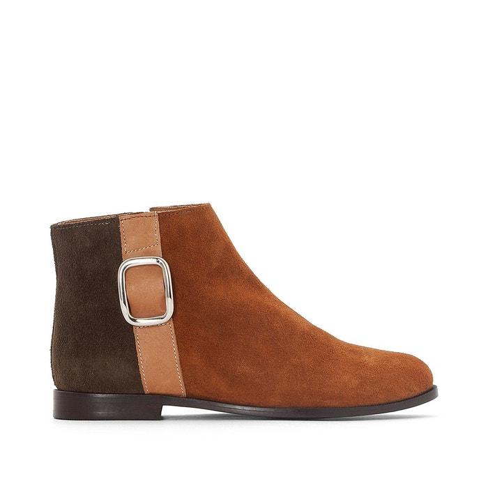 Moins Cher En Ligne Boots cuir tricolores détail boucle camel La Redoute Collections Ordre D'achat Pas Cher Avant expP9IN