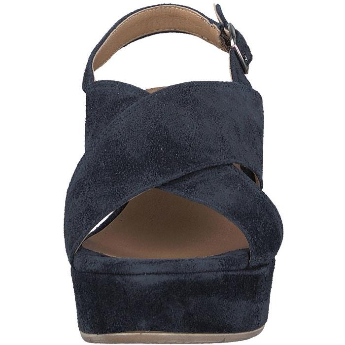 Sandales cuir à talon compensé daiane bleu marine Tamaris