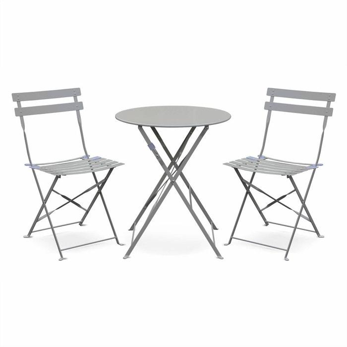 Salon de jardin bistrot pliable Emilia rond, table diamètre 60cm avec deux  chaises pliantes, acier thermolaqué