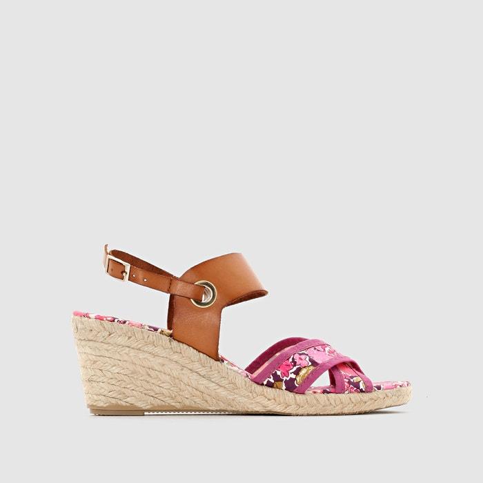 Image TALMA Canvas & Leather Wedge Heel Sandals PARE GABIA