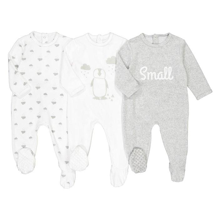 Lot de 3 pyjama velours 0 mois - 3 ans