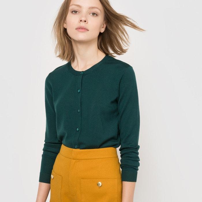 Image Round Neck Cardigan in Pure Merino Wool R essentiel