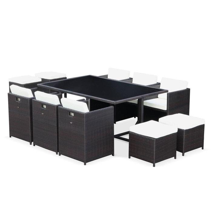 Salon de jardin Vasto table en résine tressée 6 à 10 places, fauteuils  encastrables