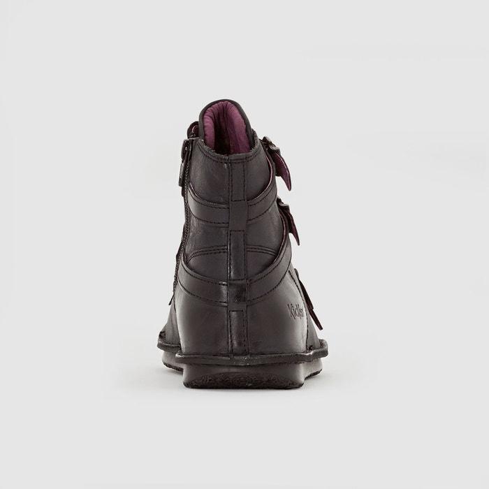 Boots en cuir à brides waxing noir Kickers