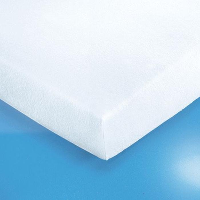 prot ge matelas housse en ponge extensible blanc la. Black Bedroom Furniture Sets. Home Design Ideas