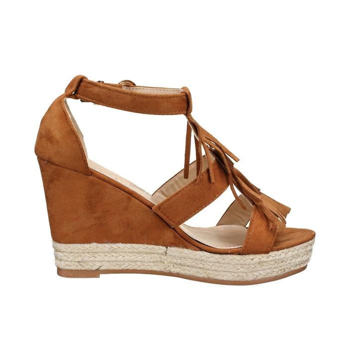 Sandale compensee à franges beige Leader Mode