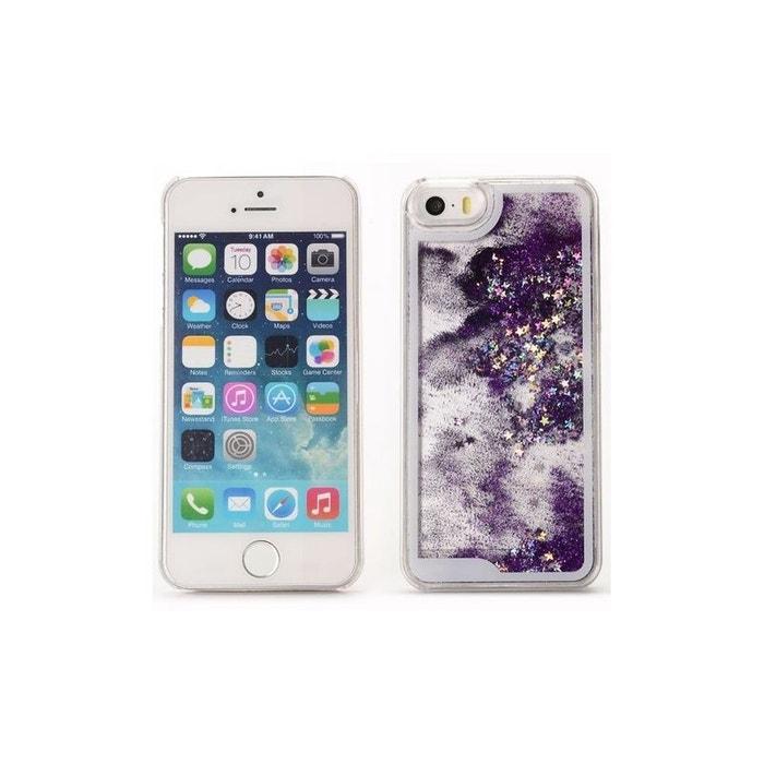 Coque pour iPhone SE (2016) / 5S / 5 à Paillettes Violettes et Etoiles Argentées