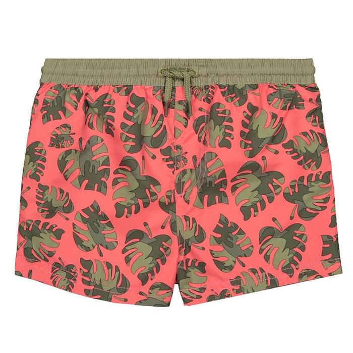 5c85696f4 Short de bain imprimé feuilles 3-12 ans kaki corail La Redoute Collections