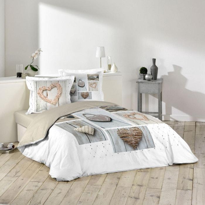 parure housse de couette 240 x 220 cm dreamer blanc beige douceur d interieur la redoute. Black Bedroom Furniture Sets. Home Design Ideas
