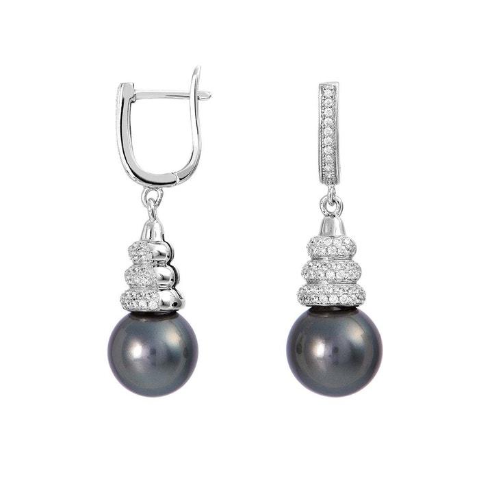 Boucles d'oreilles argent 925/1000 perle, oxyde blanc Cleor | La Redoute